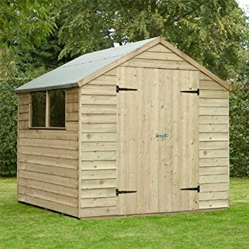 Garden Central - Caseta de madera solapada tratada a presión (2, 13 x 2, 13 m, tejado a dos aguas, puerta doble): Amazon.es: Jardín