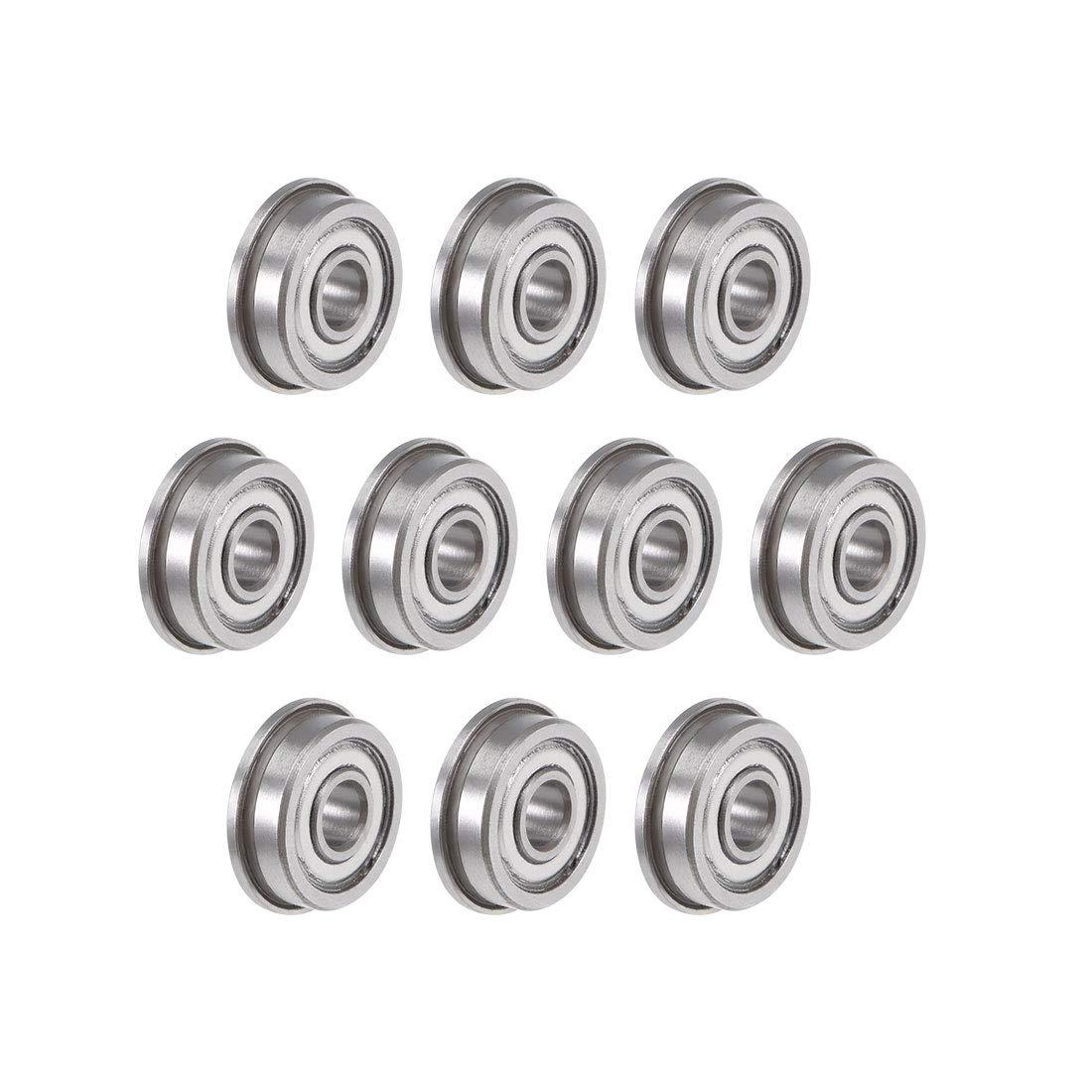 F604ZZ 4x12x4mm 20 PCS Miniature Metal Bearing Flanged Ball Bearing