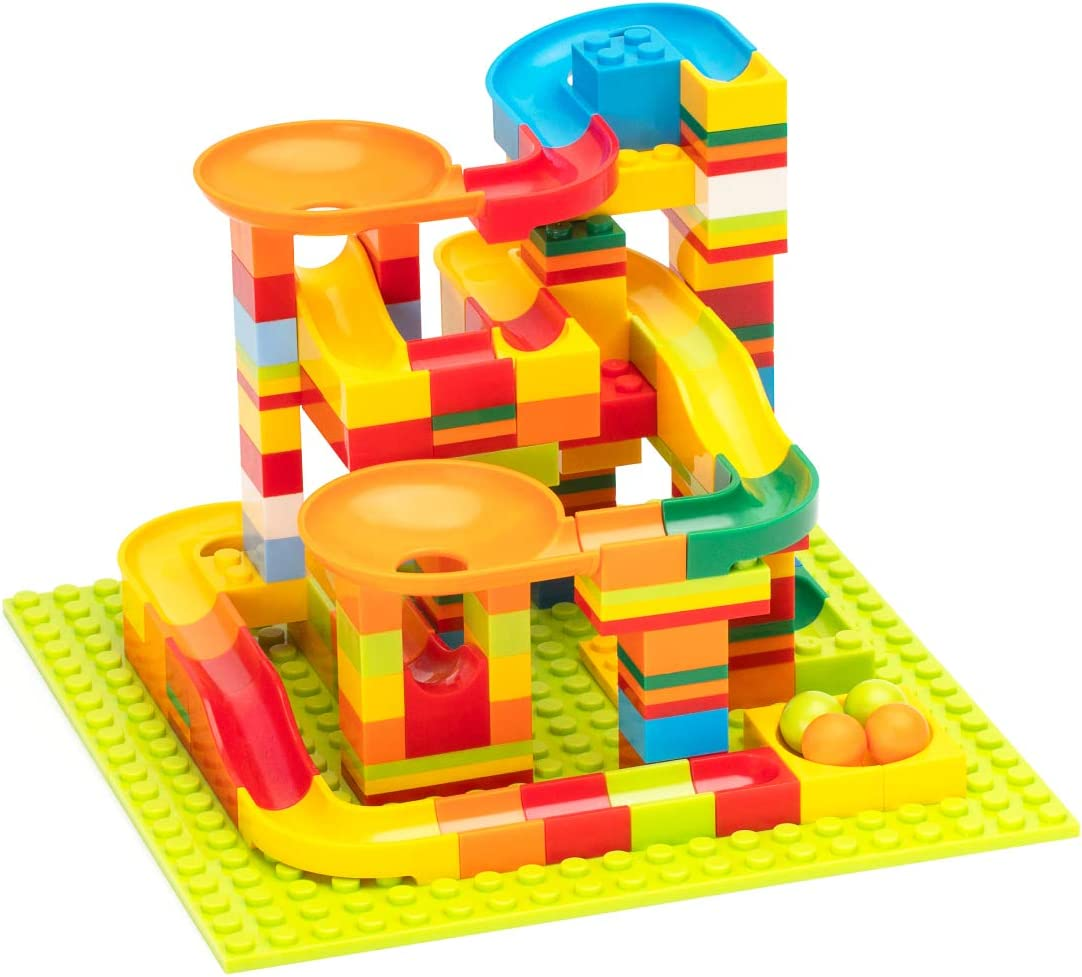 140PCS Marble Maze Game Building Blocks Toys Gift for Boys /& Girls Aged 3 Years Old and Up ROBUD Marble Run Race Track Set for Kids