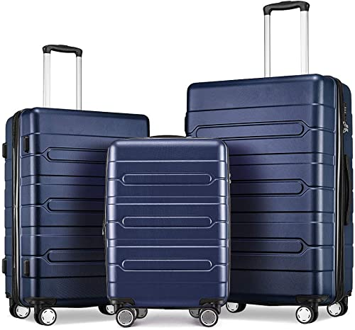 Fochier Hard Shell Luggage Sets 3 Piece Expandable Suitcase with Spinner Wheels TSA Lock Blue