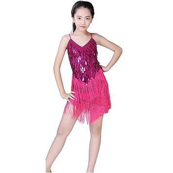 01032d78d0b53 Huicai Vêtements pour enfants Filles Paillettes Jupe de danse latine Danse  latine Tango Jupe à franges