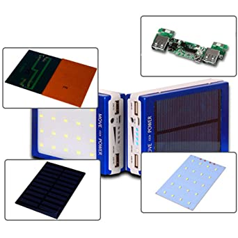 Jgashf Cargador solar portátil de LED doble USB Power Bank 5 x ...