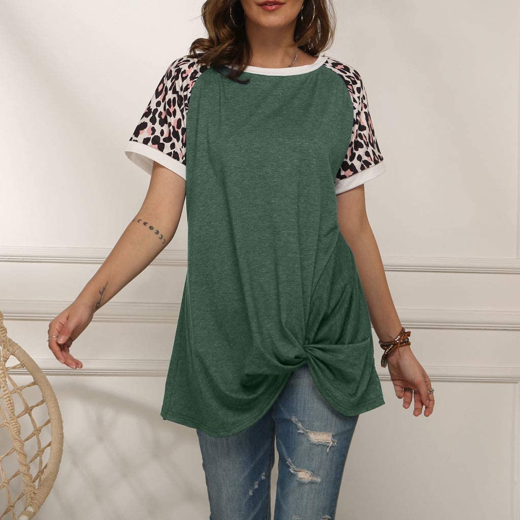 Eoeth Womens Leopard Colorblock Knotted Shirt,Short Sleeve T-Shirt Round Neck Casual Simple Wild Top Blouse Pullover