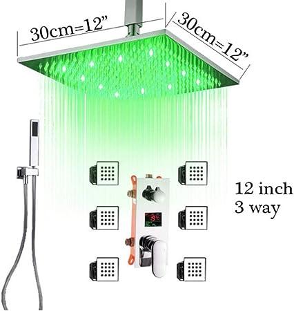 Caja empotrada Válvula triple Baño Ducha Grifo Oculto Montado en el techo LED Grifos de baño Temperatura Digital Display Cartridge, B: Amazon.es: Bricolaje y herramientas