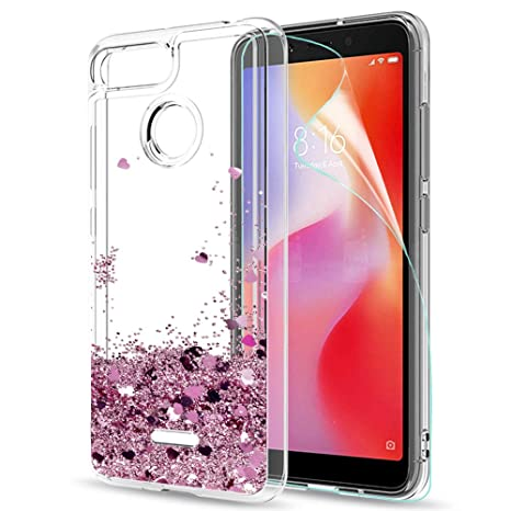 8d0308e54a6 LeYi Xiaomi Redmi 6A Case with Screen Protector, Girl Women 3D Glitter  Liquid Cute Personalised Clear Transparent Silicone Gel Shockproof Phone  Cover for ...
