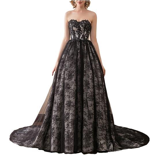 Dreamdress Women\'s Black Lace Gothic Plus Size Train Wedding Dresses ...