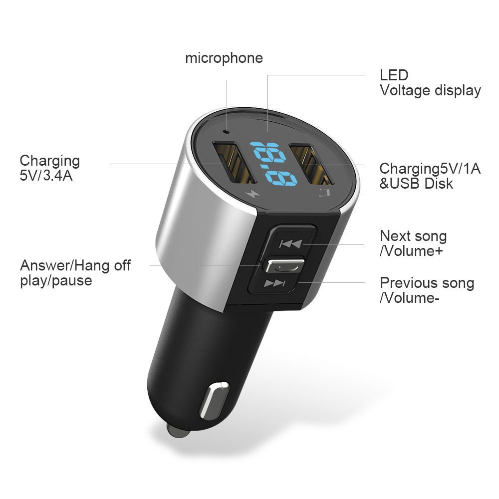 Bluetooth FM Transmitter, Car Charger, Wireless Bluetooth FM Radio Adapter Car Kit FM Transmitter Radio Adapter and MP3 Music Player Control 3.4A Car Charger, Dual USB Ports Charge C26S by Foneda (Image #2)