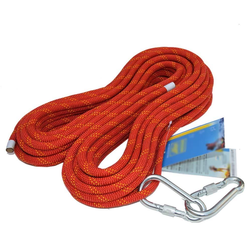 JU FU Corde d'extérieur 12 mm Statique Corde d'escalade Corde de Rappel Corde de sécurité Haute Altitude Corde de sécurité antichute, Rouge, 13 Tailles (Taille   10M) 200M
