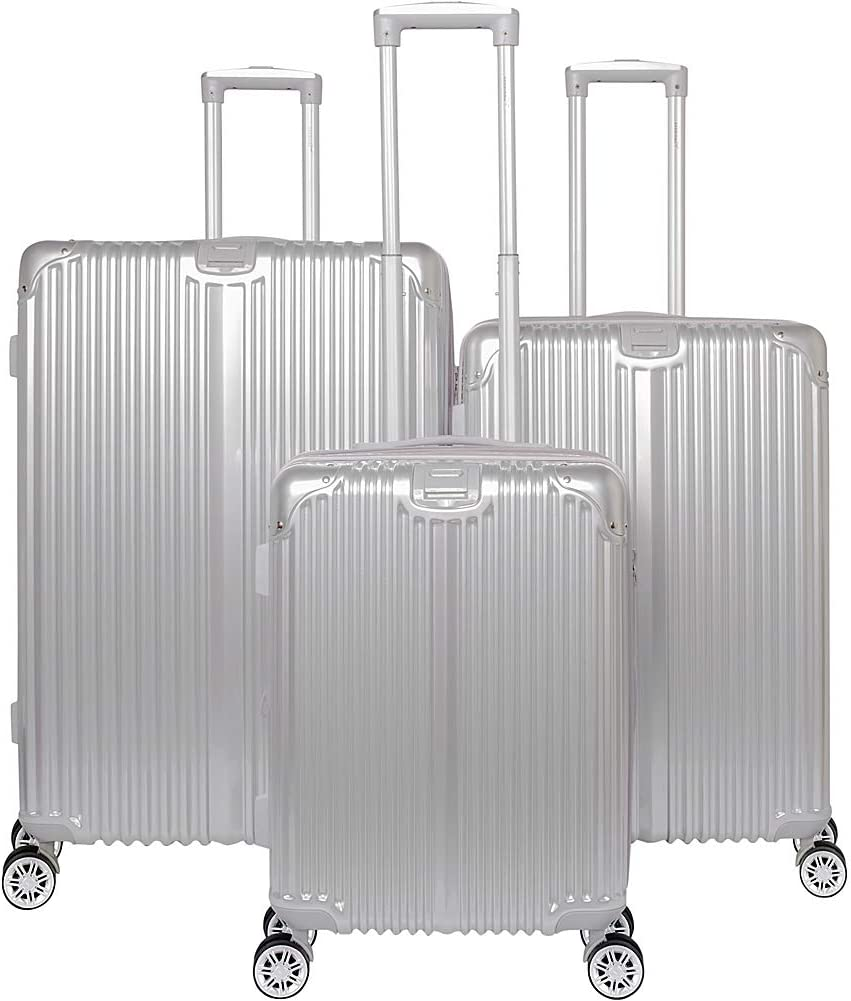 Gabbiano The Macan 3 Piece Expandable Hardside Spinner Luggage Set Silver