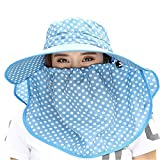 Ezyoutdoor Women Wave Dot Large Brimmed Anti-UV Sun Hat With Removable Sun Shield And Neck Face Mask Protection With Folding Brim Outdoor Hat for Fishing Hunting Camping Swimming Hiking