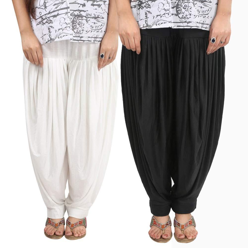 Whiteblack Sharvgun Women's Patiala Salwar Viscose Lycra Baggy Trouser Free Size Dhoti Pant Combo Pack of 2 Lycra Salwar
