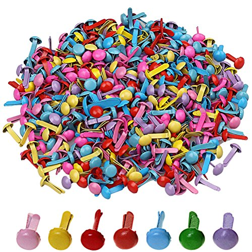 Pengxiaomei 500 Pcs Mini Brads, Metal Brad Paper Fastener for Scrapbooking Craft, Random Colors ()