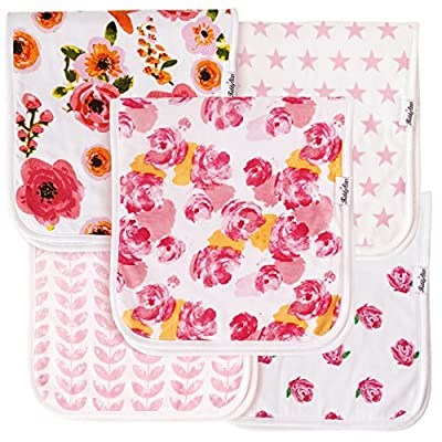 """Baby Burp Cloths for Girls 5 Pack, Large 21""""x10"""", Triple Layer, 100% Organic Cotton, Thick, Soft and Absorbent Towels, Burping Rags for Newborns, Baby Shower Gift by KiddyStar by KiddyStar that we recomend individually."""