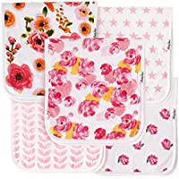 """KiddyStar Baby Burp Cloths for Girls, Organic Cotton, 5 Pack, Large 21""""x10"""", Triple Layer, Thick, Soft and Absorbent Towels, Burping Rags for Newborns, Baby Shower Gift"""