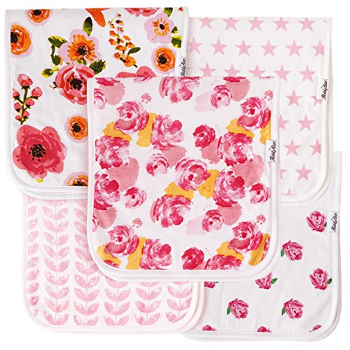 Baby Burp Cloths for Girls 5 Pack, Large 21
