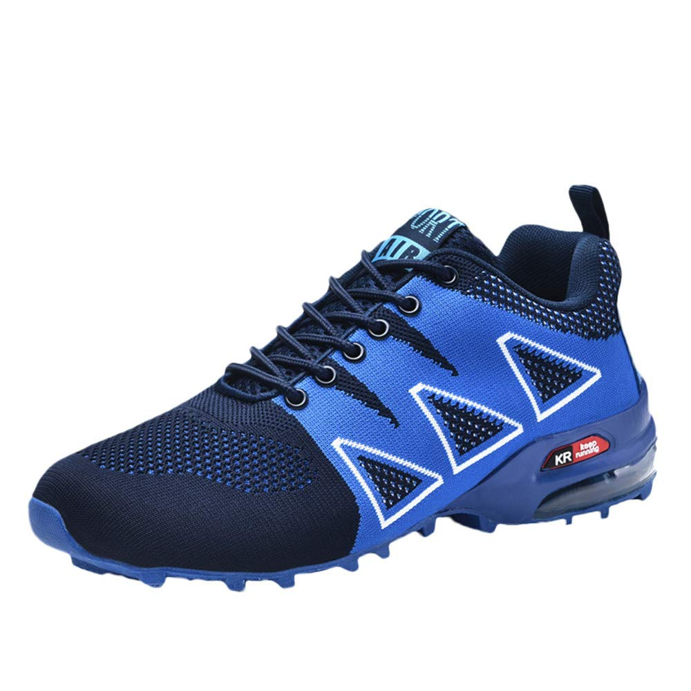 Casual Men's Outdoor Mountaineering Shoes Non-Slip Mesh Breathable Lace-up Hiking Sneakers by Dacawin