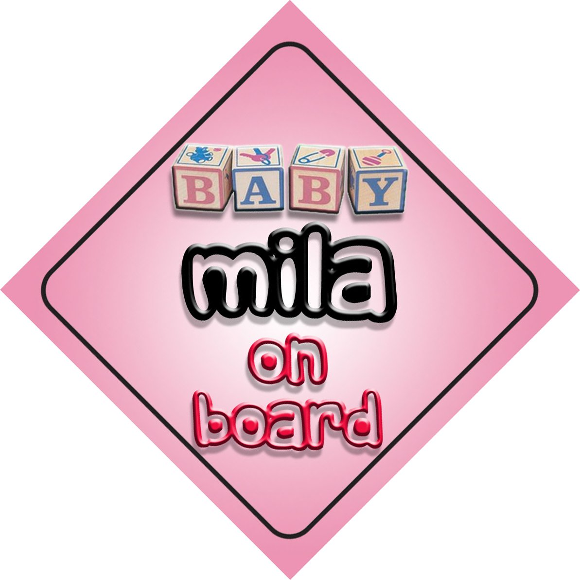 Princess Mia On Board Girl Car Sign Child//Baby Gift//Present 002