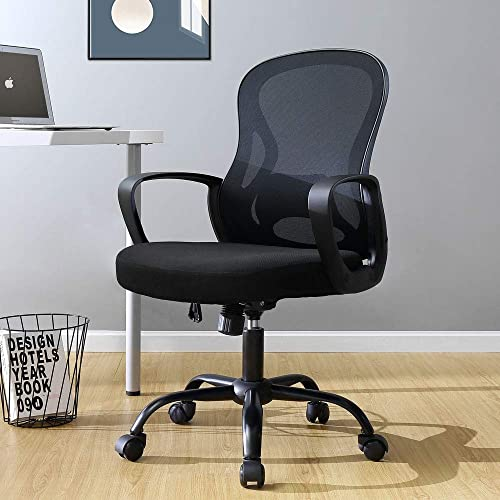 BERLMAN Ergonomic Mid Back Mesh Office Chair Adjustable Height Desk Chair Swivel Chair Computer Chair