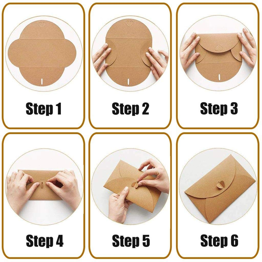 NIU MANG 100/pcs Mini Papier Kraft enveloppes Fermoir C/œur de Cartes de No/ël DIY Craft, 10.5/* 7.2/cm