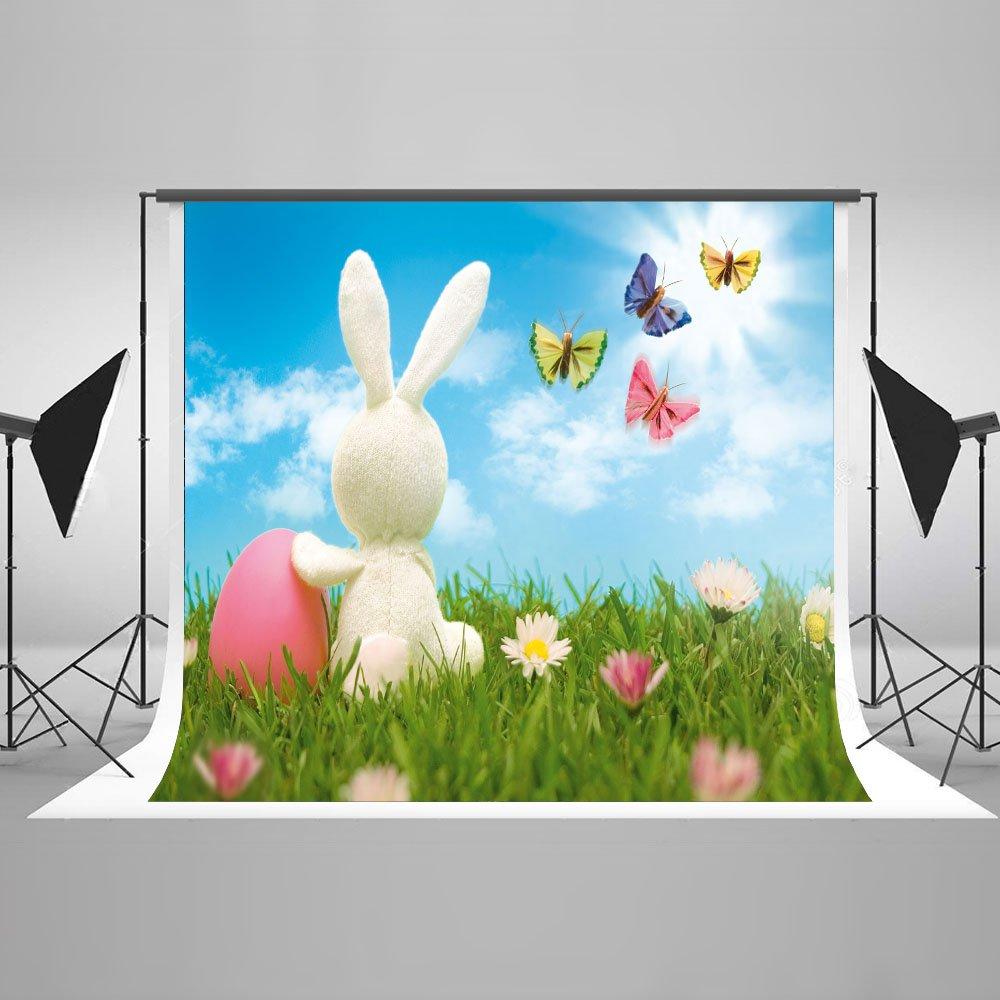 子供用ラビットバックドロップ 壁掛け装飾 バニーバタフライ 花 写真スタジオ小道具 ガーデンベルベットコットン生地 3x5フィート   B075MZNN1R