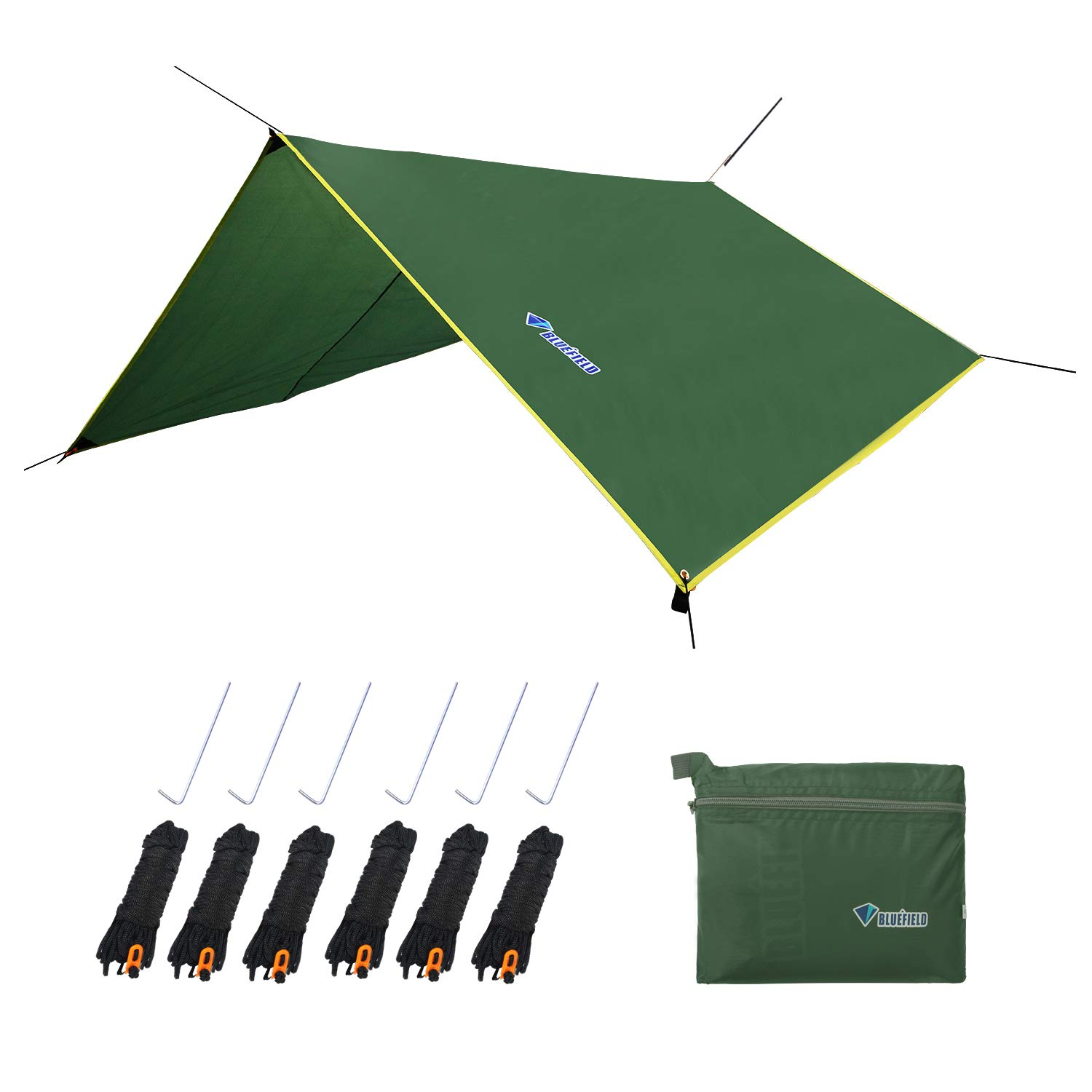 LLY Camping Tarp, Waterproof Picnic Mat, 4 in1 Multifunctional Tent Footprint for Camping, Hiking Survival Gear, Lightweight and Compact(71'' x 86'' Green) by LLY