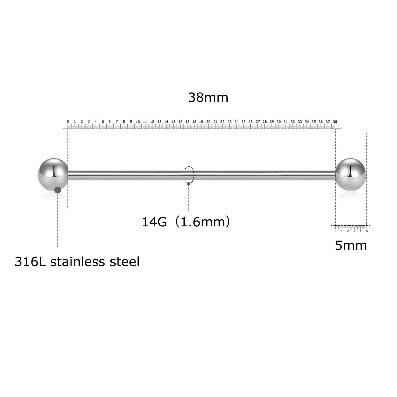 e0ac2f7f7bb3 Fectas 4 unids Barbell Industrial Acero Quirúrgico Pendiente de Cartílago  de Plata Joyería Piercing del Cuerpo 38mm  Amazon.es  Joyería