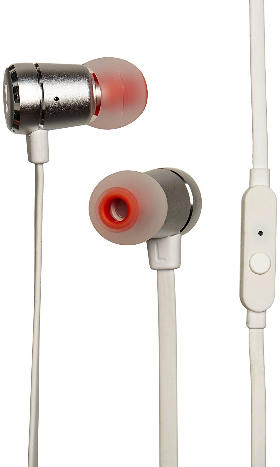 (New) Premium JBL - Harman Aluminum in-Ear Headphones with Tangle Free Cord and Pure Bass T290 High Performance with Universal 1 Button Remote/mic - White and Silver Color