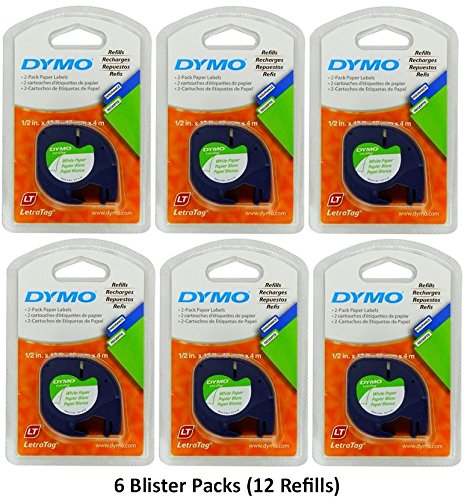 Dymo 10697 Self-Adhesive White Paper Labeling Tape for LetraTag (LT) Label Makers; 6 Blister Packs (12 Refills); Each Blister Pack contains Two 1/2