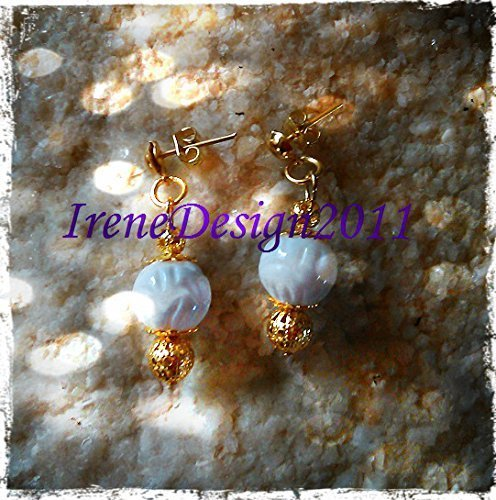 Gold Stud Earrings with Carved White Coral