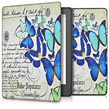 kwmobile Elegant synthetic leather case for the Kobo Aura H2O Edition 2 Design butterflies writing in blue mint beige
