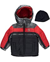 """London Fog Little Boys' """"Wintry Color-Block"""" Jacket with Hat-navy"""