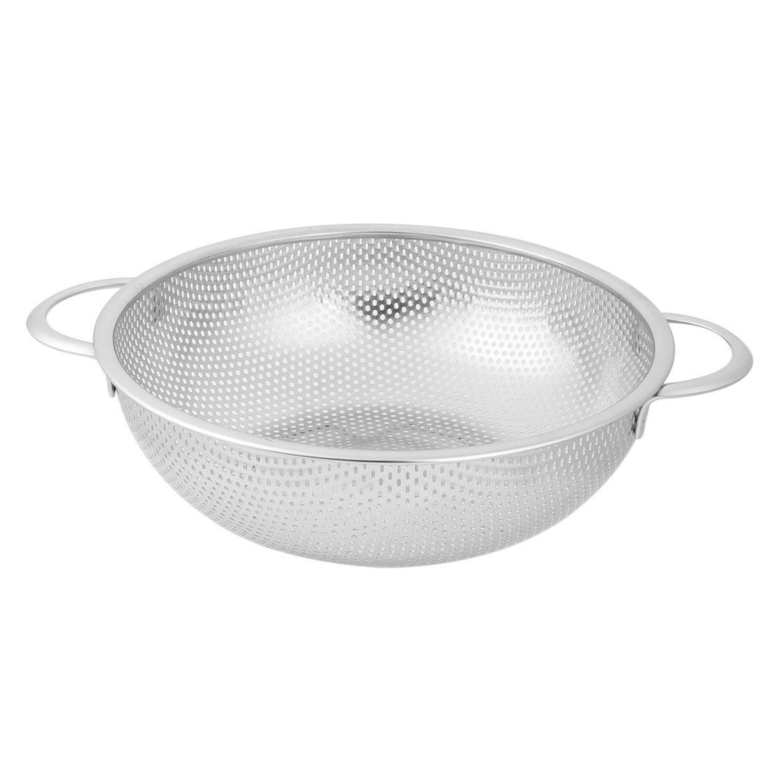 uxcell Stainless Steel Household Vegetable Fruit Washing Bowl Colander 22.5cm Diameter Silver Tone