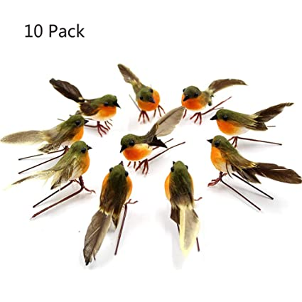10 pcs christmas birdchristmas ornaments christmas tree hanging pendant very cute artificial feather robin - Bird Christmas Tree Decorations