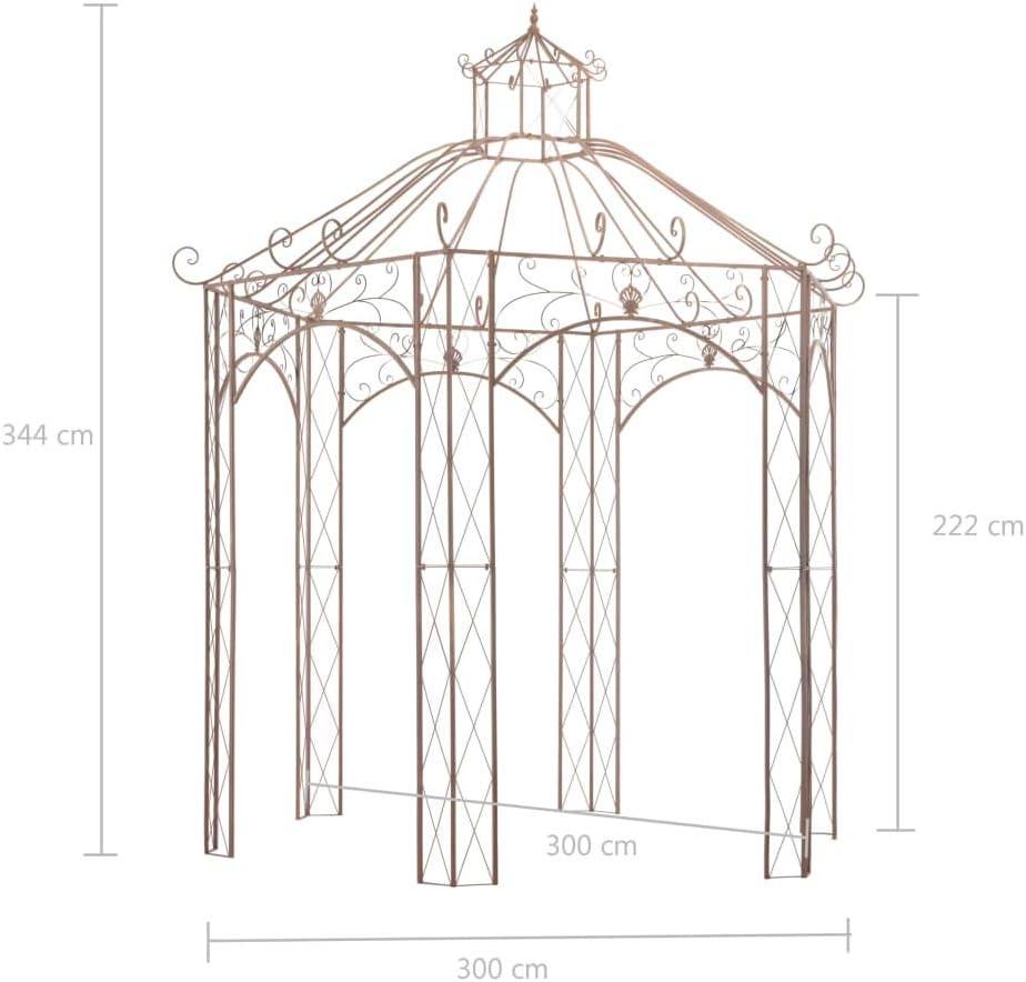 vidaXL Pérgola Carpa Cenador de Jardín Porche Patio Terraza de Aspecto Antiguo Estructuras Hierro Decoración Exterior Ambientes para Casa 3 m Marrón: Amazon.es: Hogar
