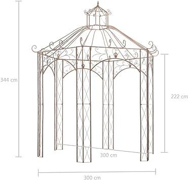 vidaXL Pérgola Carpa Cenador de Jardín Porche Patio Terraza de Aspecto Antiguo Estructuras Hierro Decoración Exterior Ambientes para Casa 3 m Marrón