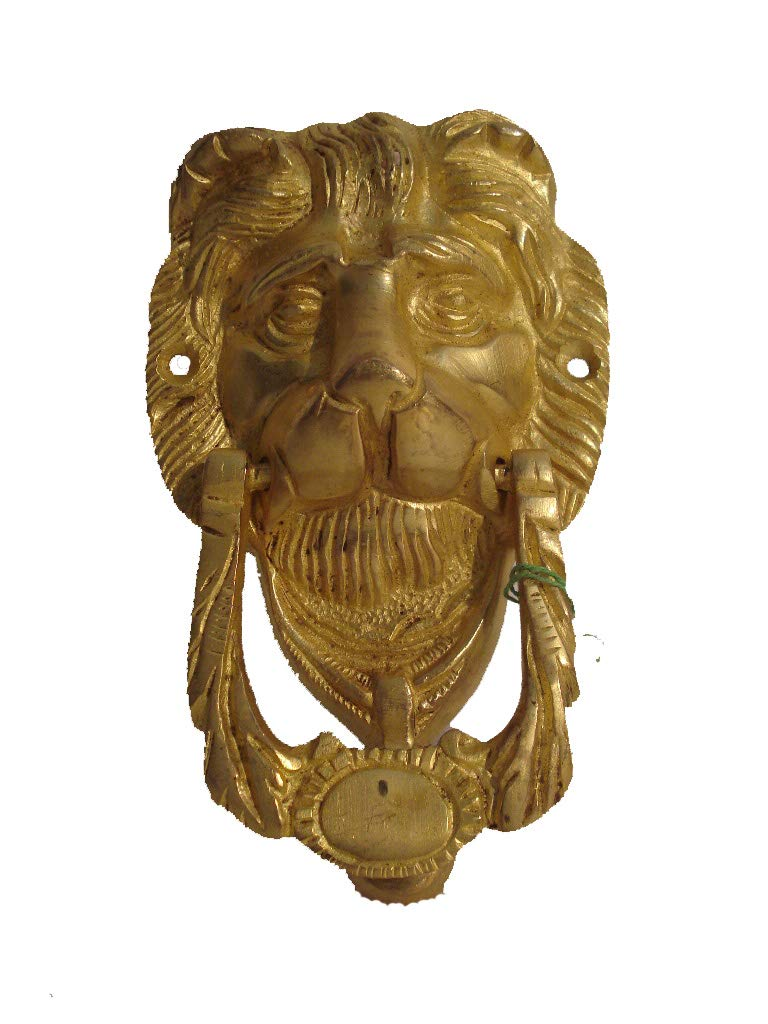 ANTIQUE Style Brass DOOR KNOCKER LION Style RARE Fully Brass