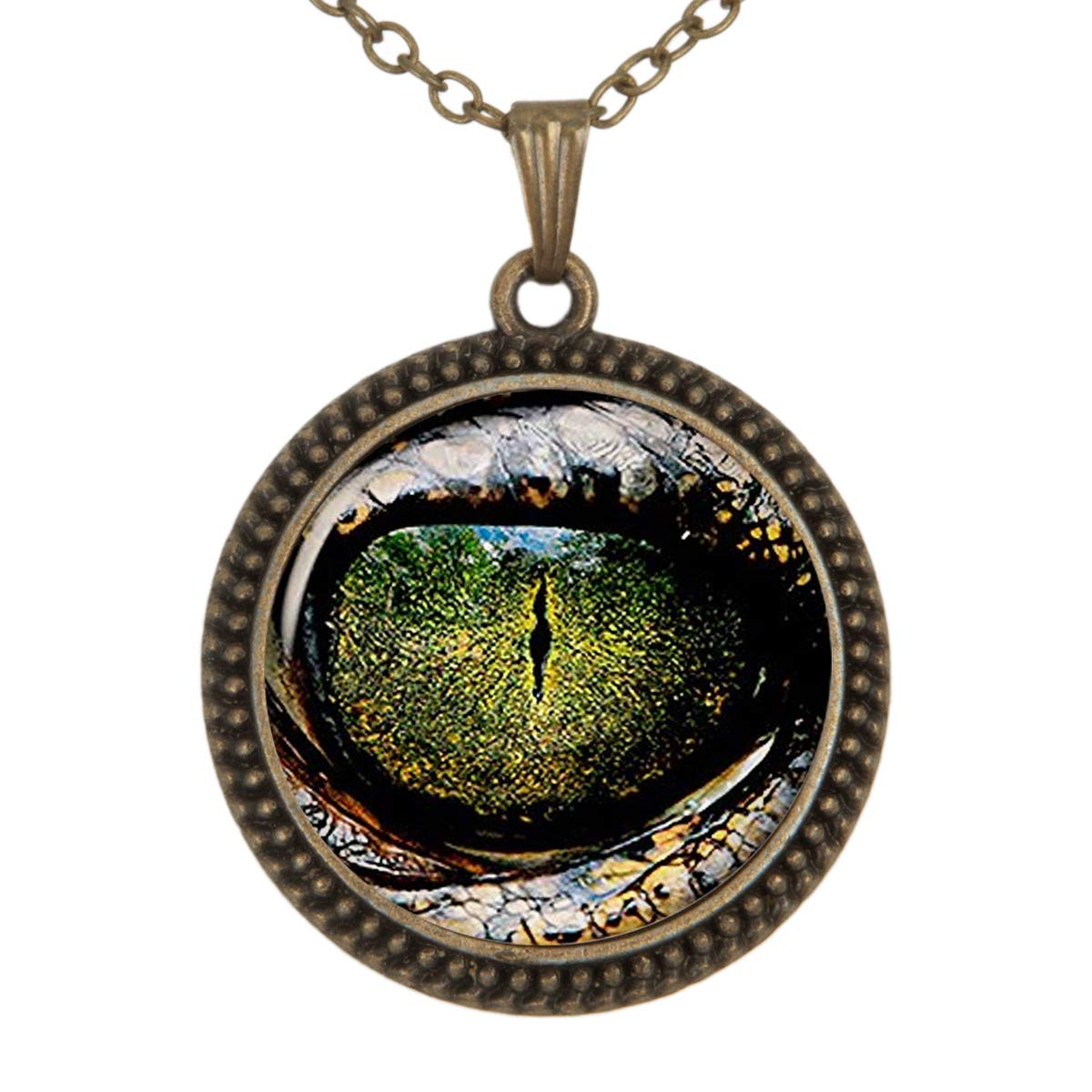 Family Decor Green Animal Eyes World Pendant Necklace Cabochon Glass Vintage Bronze Chain Necklace Jewelry Handmade