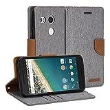Google Nexus 5X Case, GMYLE Wallet Case Classic for Google Nexus 5X - Aluminium Grey & Deer Brown PU Leather Slim Stand Case Cover