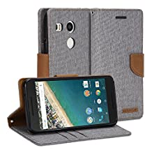 Google Nexus 5X Case, GMYLE Wallet Case Classic for Google Nexus 5X - Aluminium Grey & Deer Brown PU Leather Slim Stand Case Cover