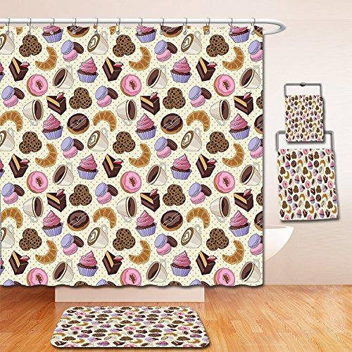 Nalahome Bath Suit: Showercurtain Bathrug Bathtowel Handtowel Kitchen Decor Coffee Shop Themed Image with Cups Cookies Cake Chocolate Artwork Pattern - Dallas Shop Suit