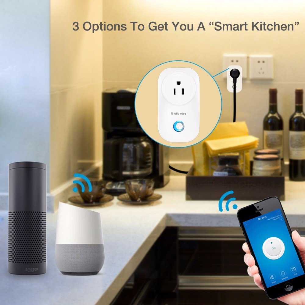 Smart Plug, Alfawise Smart Wi-Fi Plug Wireless Outlet, Smart Timing Socket Compatible with Alexa, Timing Function, Remote Control Appliances from Anywhere by Alfawise (Image #1)