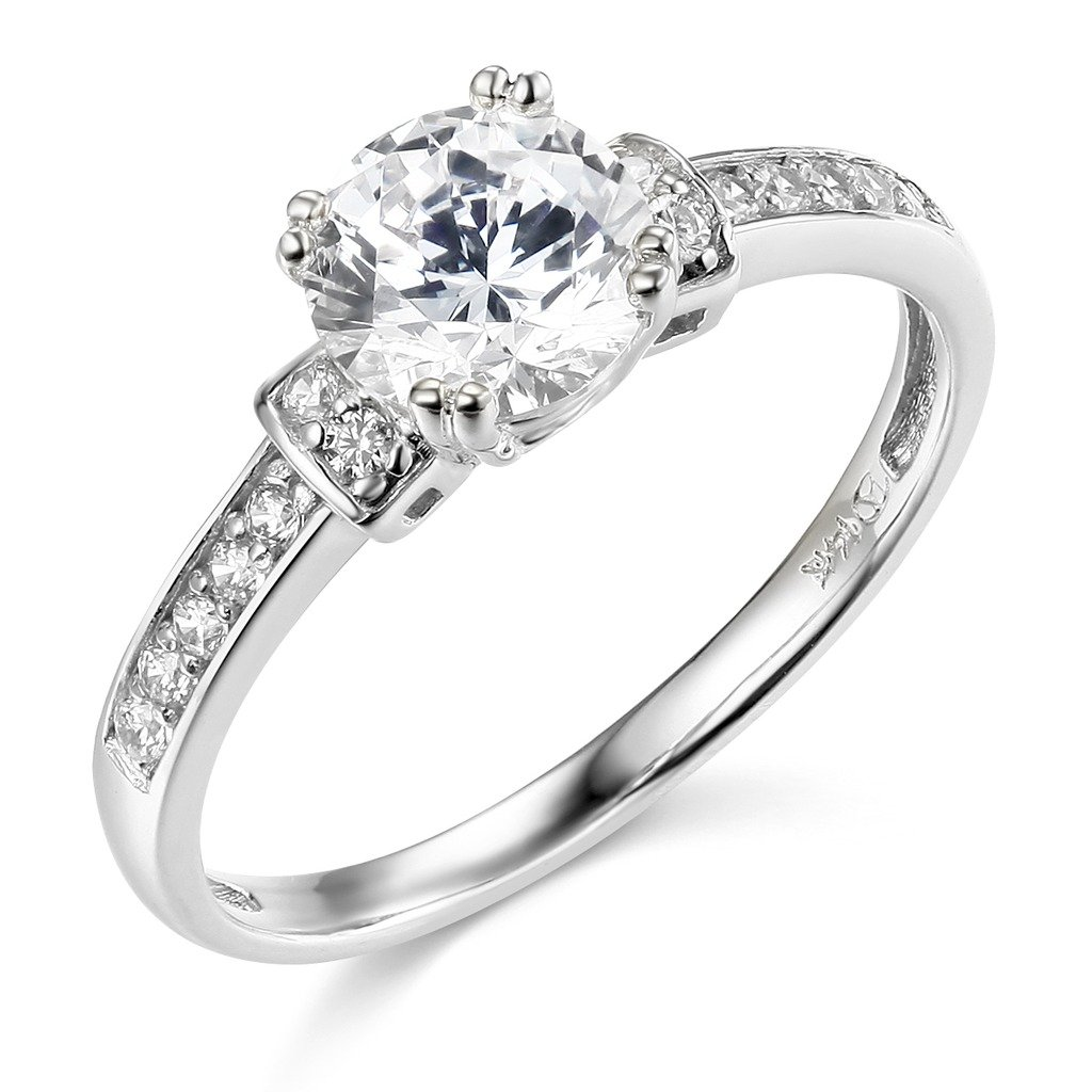 TWJC 14k Yellow OR White Gold SOLID Wedding Engagement Ring The World Jewelry Center