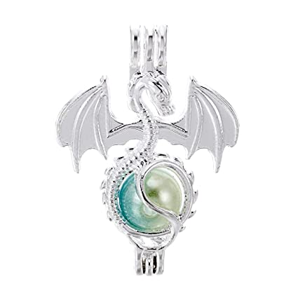 5X Black Winged Dragon Pearl Cage Locket Pendant Fragrance Oil Diffuser Necklace