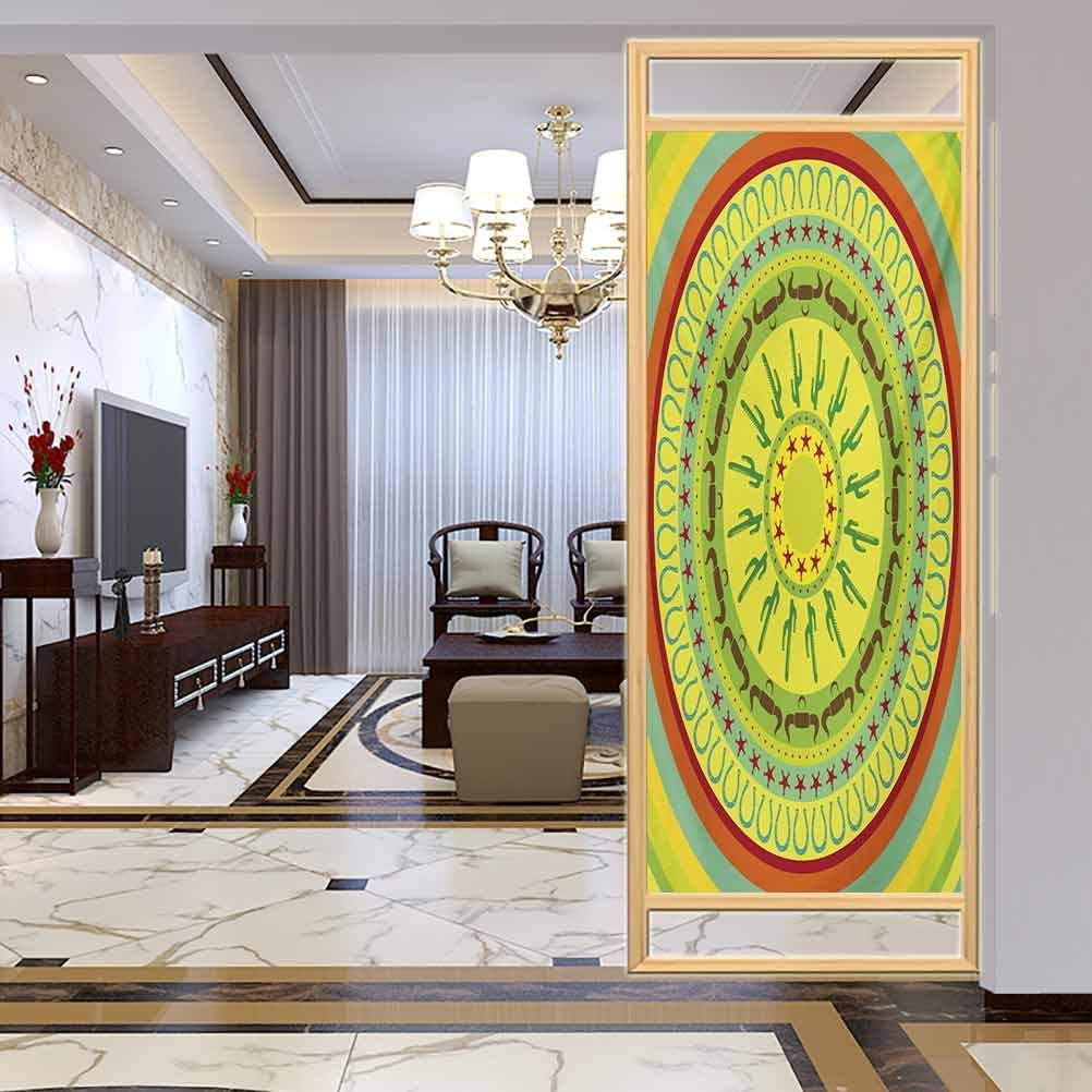 Privacy Home Decor Decorative Stained Glass Window Film, Southwestern Wild West Cowboy Themed Design Colorful C, Home Glass Film for Bathroom Meeting Living Ro, W17.7xH35.4 Inch