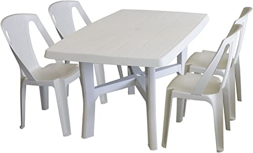 5 piezas. Juego de muebles de jardín PLÁSTICO Color Blanco – Mesa de jardín, plástico, pantalla Apertura,