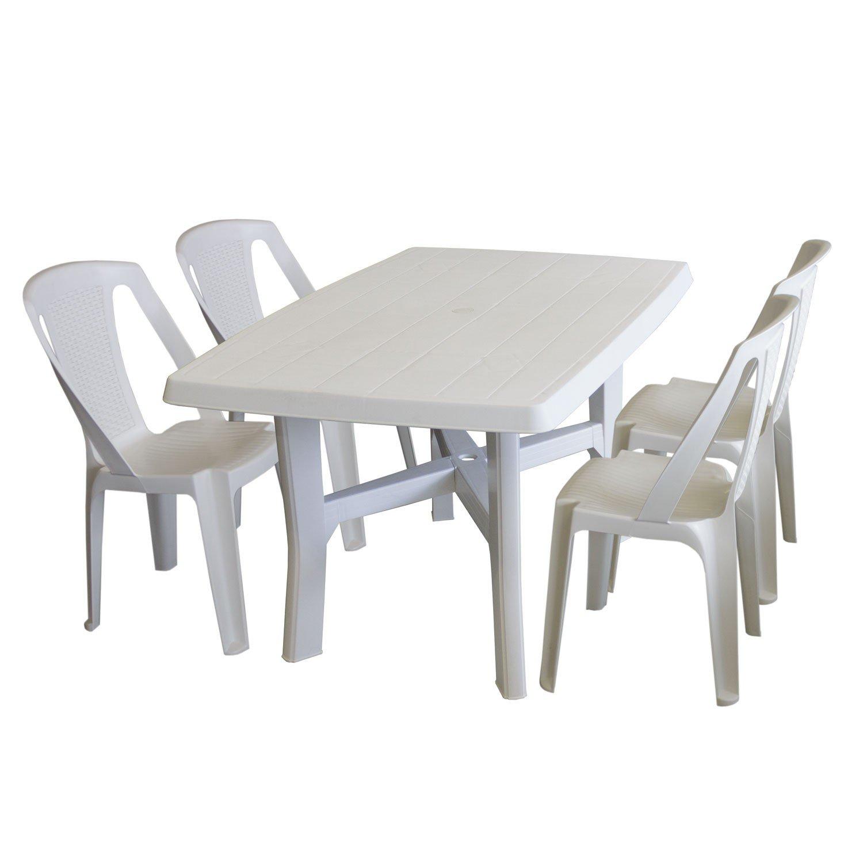 5tlg. Gartenmöbel Set Kunststoff Weiß - Gartentisch, Kunststoff ...