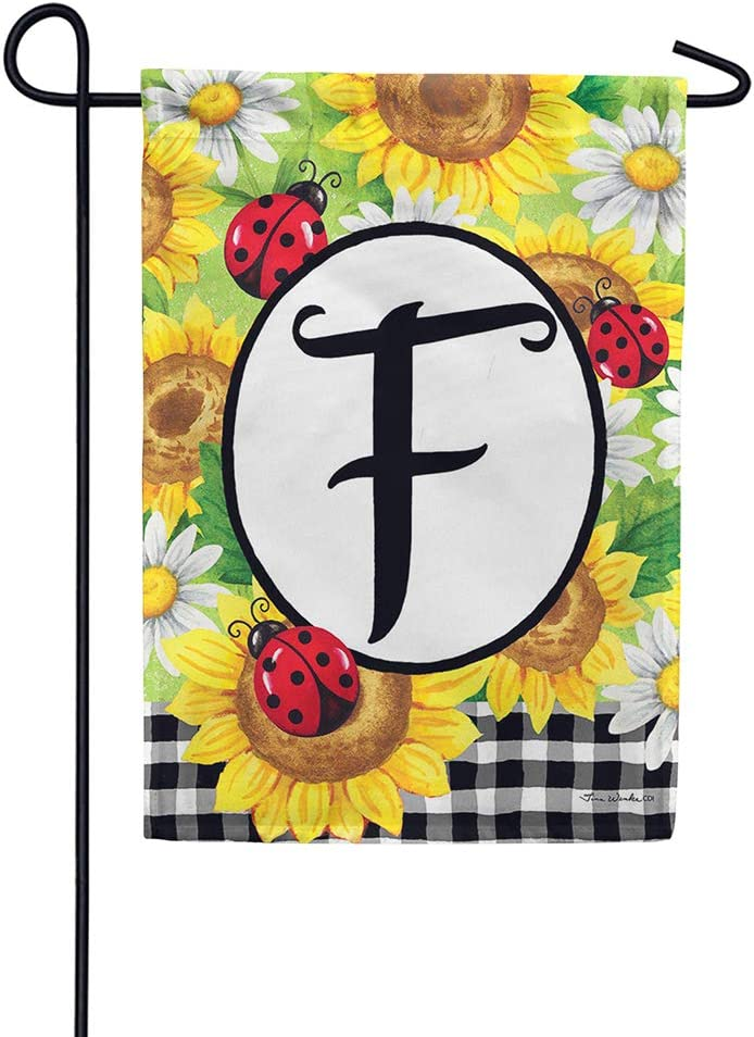 Custom Decor Sunflower Ladybugs - Letter F - Embroidered Monogram - Decorative Double Sided Flag - Garden Size, 12 Inch X 18 Inch, Licensed, Copyright & Trademark CDI. USA