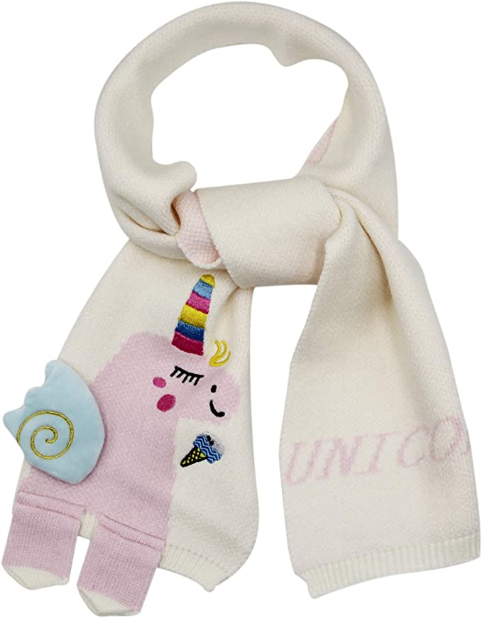 Kid Toddler little Girls Boys Scarf for Fall Winter 2020 Valentines Top Teenage Graduation Toddler Ideal Gift White Unicorn Fashion Knit Soft Scarfs for Children Big Baby 2-7 Years Old