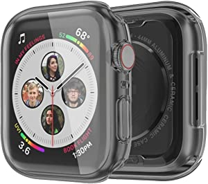 Monoy Case for Apple Watch Series 4/5 Screen Protector 40mm, [3-Pack] All Around Soft TPU Protective Cover Case for iWatch 4/5 40mm (Black)