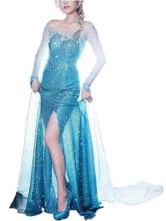 4e9e9cc105d5e6 ZQZP TOP Damen Elegante Prinzessin ELSA Kleid mit Warmer Stola  Pailletten-Kleid Kostüm Cosplay Kleider